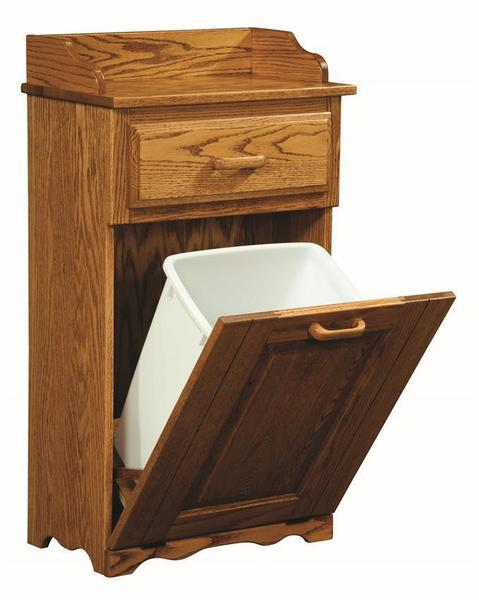 Amish Tilt Out Trash Bin with Top Drawer