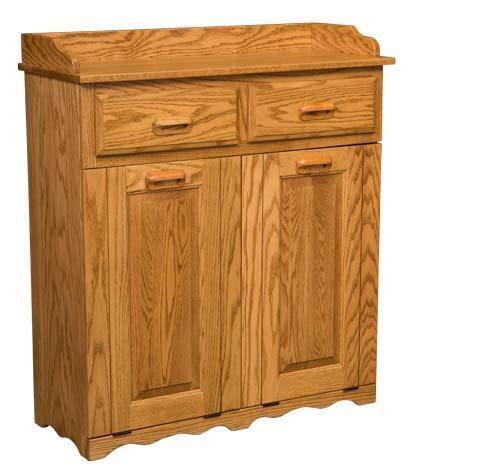 Amish Double Tiltout Large Trash Bin with Drawers