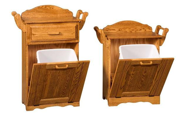 Amish Solid Wood Tilt Out Trash Bin with Towel Bar