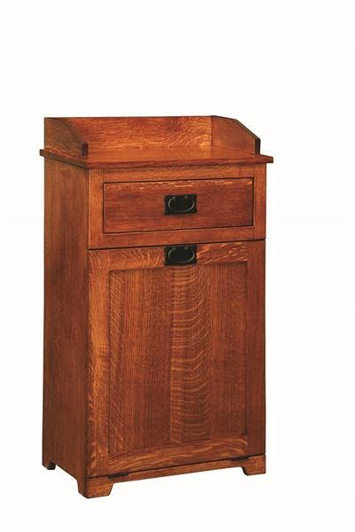Amish Mission Tiltout Trash Bin with Top Drawer