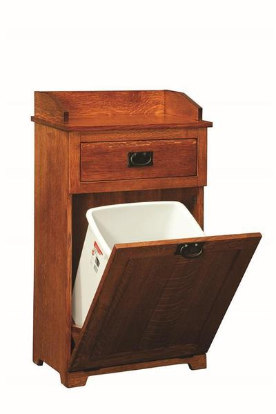 Amish Mission Tilt Out Trash Bin with Top Drawer
