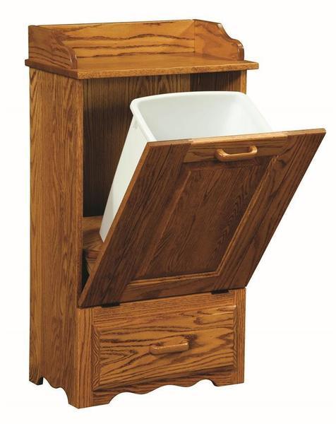 Amish Tiltout Trash Bin with Bottom Drawer