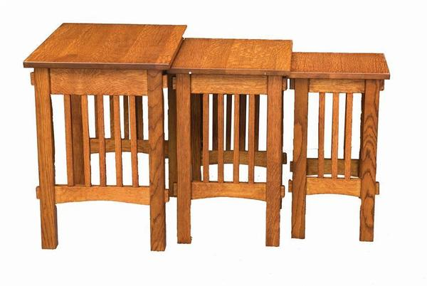 Amish Deluxe Mission Nesting End Table Set