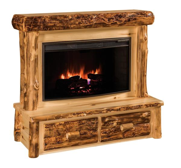 Rustic Log Electric Fireplace From Dutchcrafters Amish