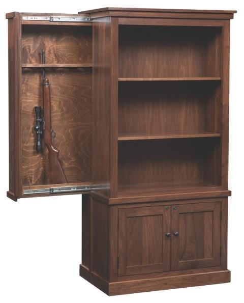 Cambridge Bookcase With Hidden Gun Cabinet From Dutchcrafters