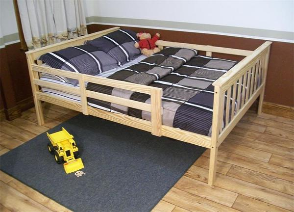 DutchCrafters Amish Kids Full Mission Bed with Safety Rails