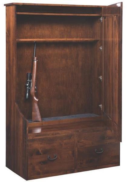Amish Hall Tree Bench With Hidden Gun Storage