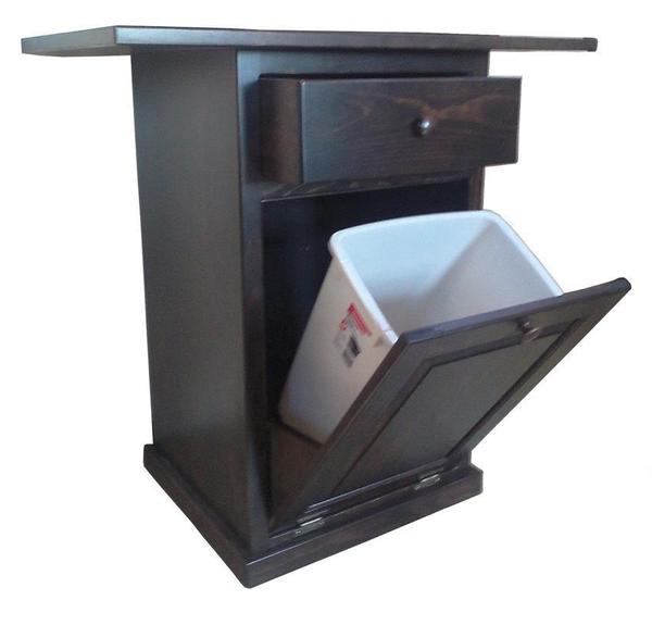 Amish Pine Tilt Out Trash Bin Kitchen Island