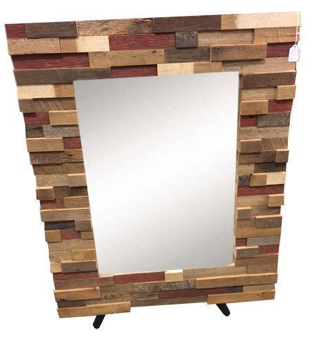 Amish Reclaimed Wood Block Art Mirror