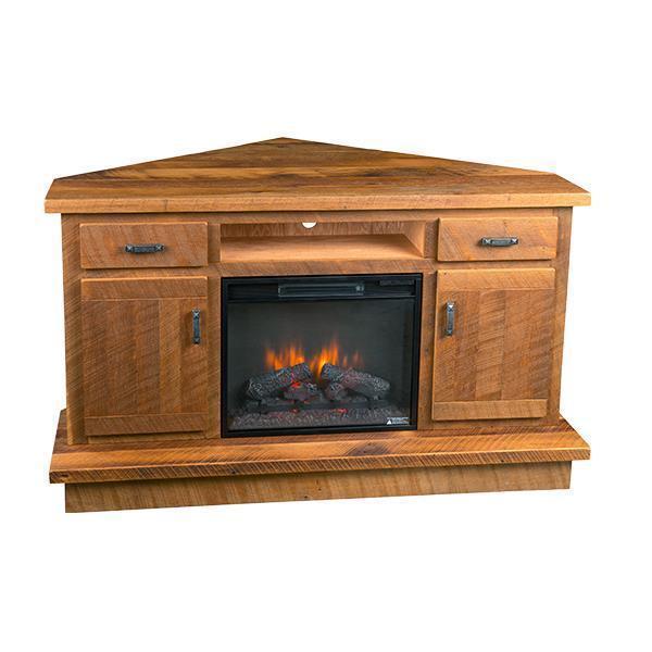 reclaimed barnwood corner entertainment center with optional fireplace - Corner Entertainment Center