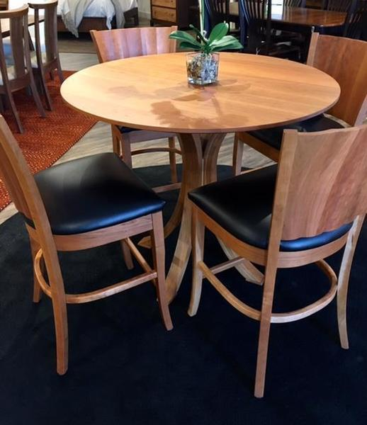 Amish Made Cherry Dining Set with Stools In Stock