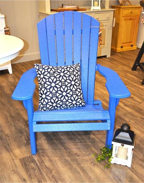 Amish Outdoor Blue Poly Adirondack Chair used as lounge chair indoors