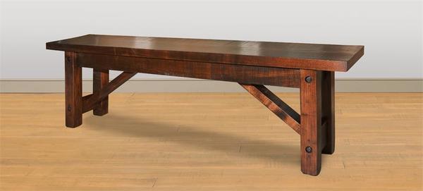Amish Rustic Ruff Sawn Wormy Maple Beam Bench