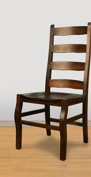 Amish Ruff Sawn Rustic Carlisle Ladder Back Dining Chair