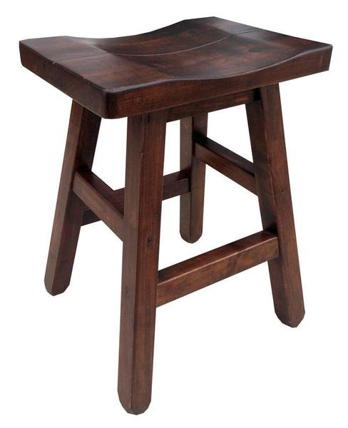 Amish Ruff Sawn Rustic Saddle Stool With Splined Seat