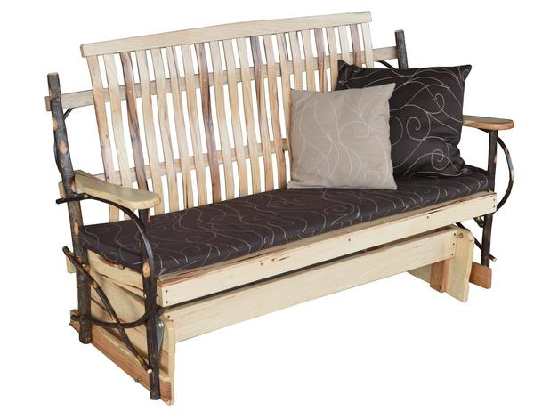 Amish Rustic Hickory Porch Glider