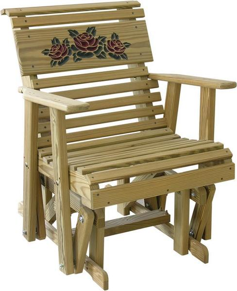 LuxCraft Rollback Rose Design Pine Glider Chair