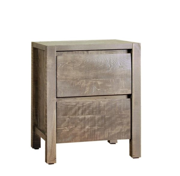 Ruff Sawn Twin Falls Two Drawer Nightstand - Quick Ship