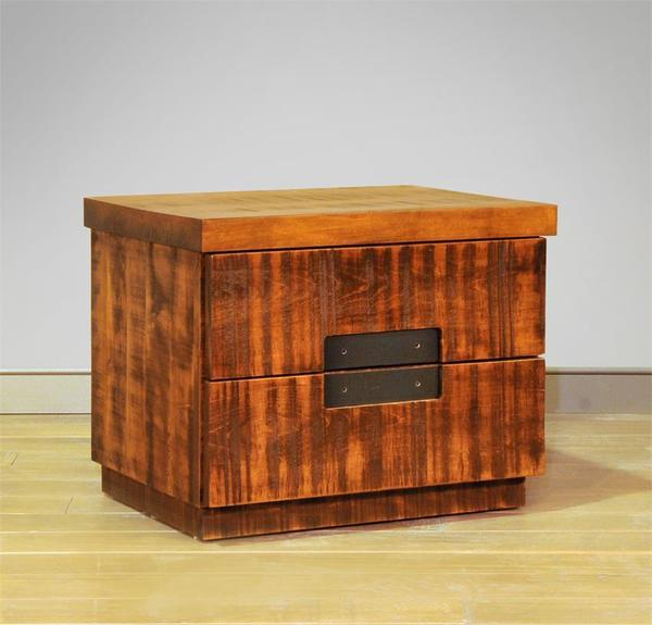 Ruff Sawn Azalea Two Drawer Nightstand