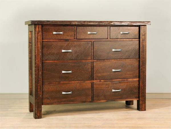Ruff Sawn Live Edge Nine Drawer Dresser