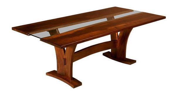 Amish Bellingham Dining Trestle Table with Glass Insert