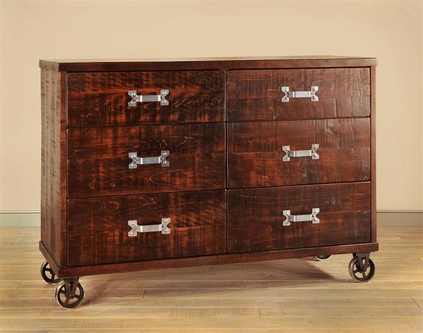 Ruff Sawn Anastasia Six Drawer Dresser