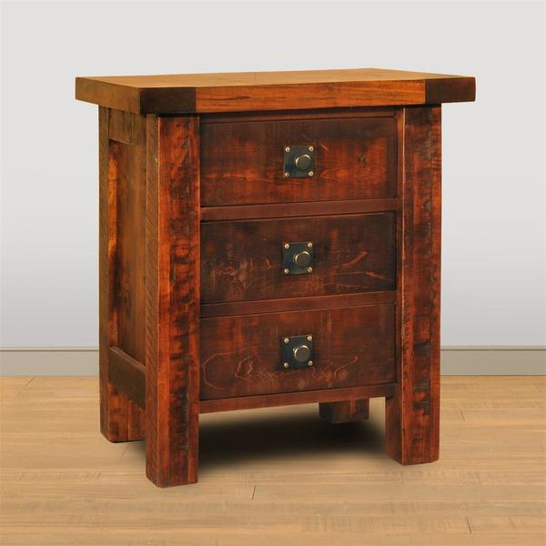 Ruff Sawn Tahoe Straight Leg Three Drawer Night Stand