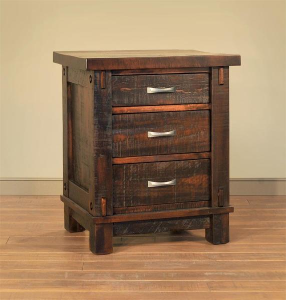 Ruff Sawn Timber Three Drawer Night Stand