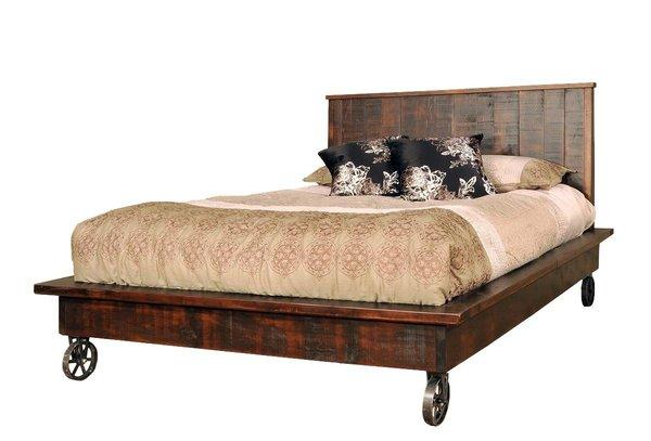Ruff Sawn Steampunk Platform Bed