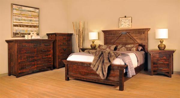 Ruff Sawn Rustic Aldora Five Piece Bedroom Set