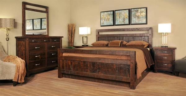 Ruff Sawn Timber Four Piece Bedroom Set