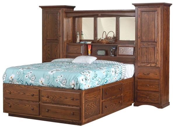 Amish Indiana Trail Wall Unit Platform Bed