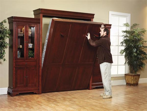 Louis Philippe Solid Wood Murphy Wall Bed