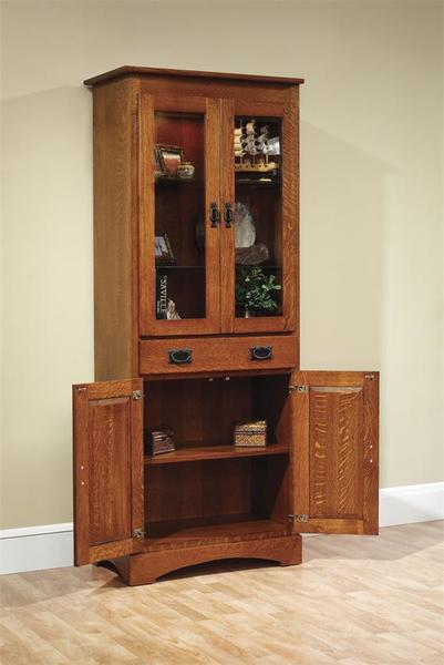 """Amish Old English Mission 30"""" Bookcase with Doors"""