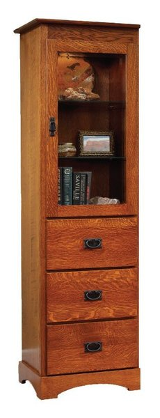 Amish Old English Mission Bookcase with Drawers