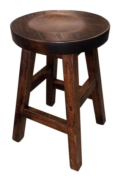 Amish Ruff Sawn Rustic Round Saddle Stool