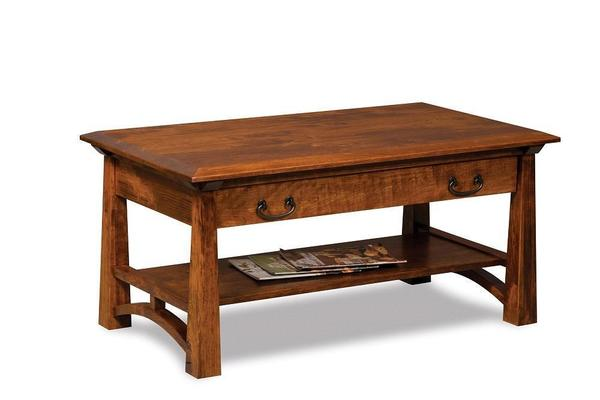 Amish Artesa Coffee Table with Drawer and Shelf