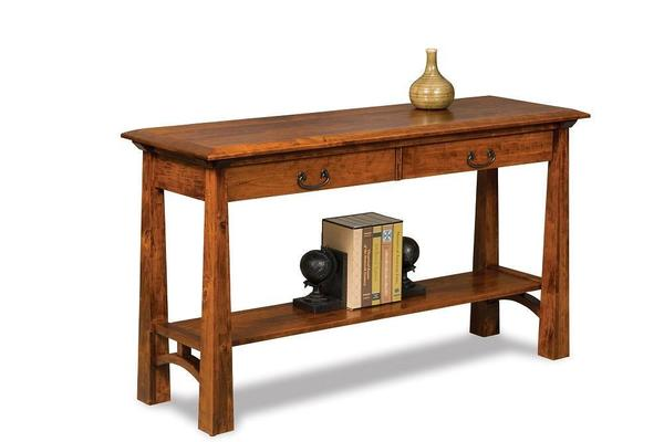 Amish Artesa Open Sofa Table with Drawer and Shelf