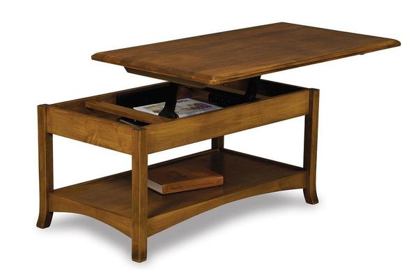 Amish Carlisle Open Lift Top Coffee Table with Counter Weight