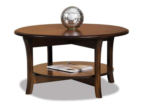 """Amish Ensenada 38"""" Round Solid Top Coffee Table with Shelf"""