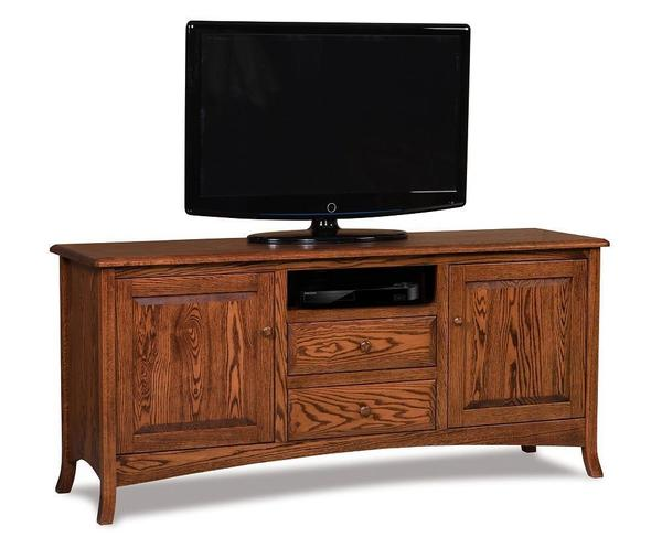 Amish Carlisle TV Stand with Two Doors and Two Drawers