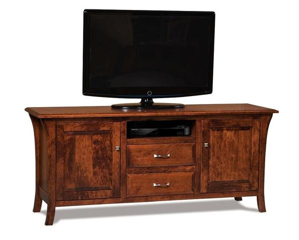 Amish Ensenada LCD Stand with Two Doors and Two Drawers