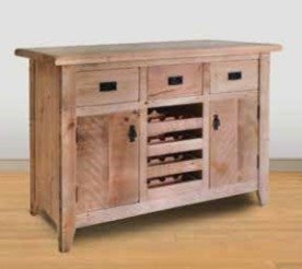 Ruff Sawn Originals Home Bar with Wine Rack Pull-Outs