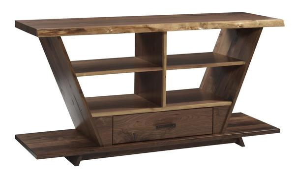 Amish Junction Contemporary Walnut TV Stand with Live Edge Top