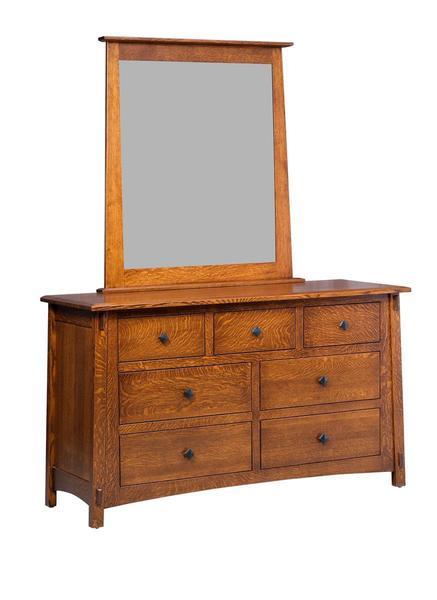 Amish San Marino Kids Seven Drawer Dresser with Mirror
