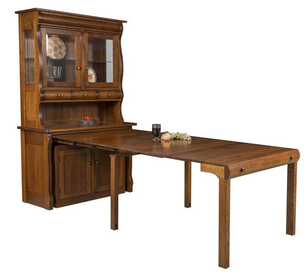 Amish Hampton Frontier Buffet Hutch with Pull Out Table