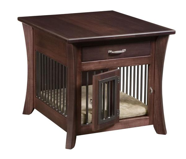 Amish Caledonia Dog Crate End Table