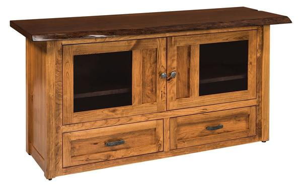 Amish Kalispel TV Cabinet with Live Edge Top