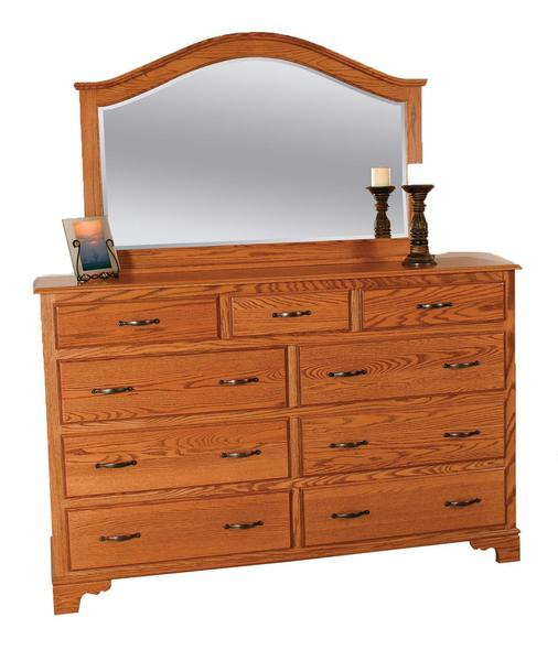 """Amish Colonial 60"""" Grand Dresser with Optional Mirror"""