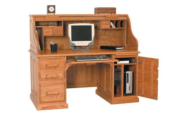 """Amish Vintage 60"""" Computer Rolltop Desk"""